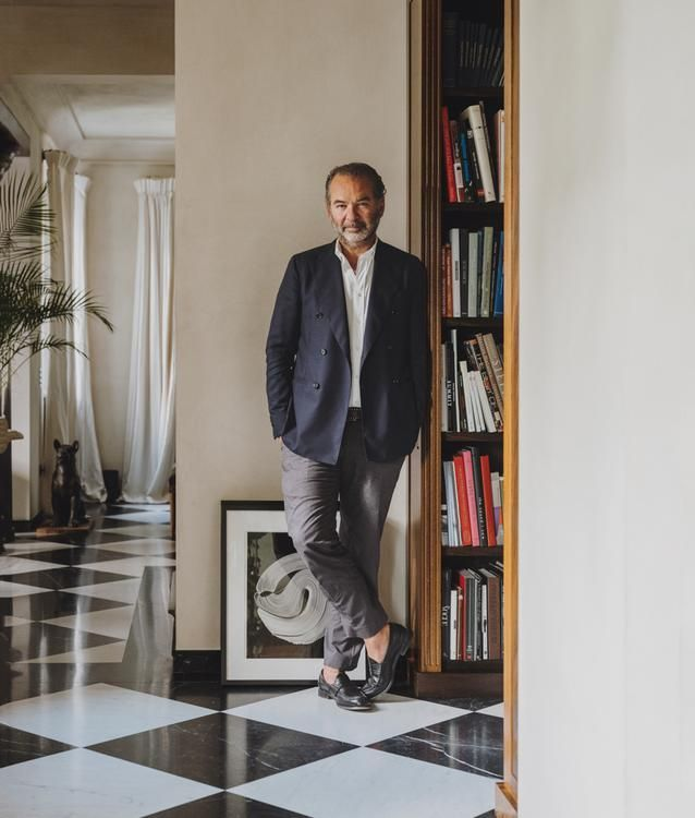 "ITALIAN STYLE Remo Ruffini in his home in Como, Italy. He is forgoing seasonal presentations to bring customers an array of Moncler products in a project dubbed the Genius Building. ""It's a new way to look at fashion,"" says Valentino's Pierpaolo Piccioli, one of the designers collaborating with Moncler."