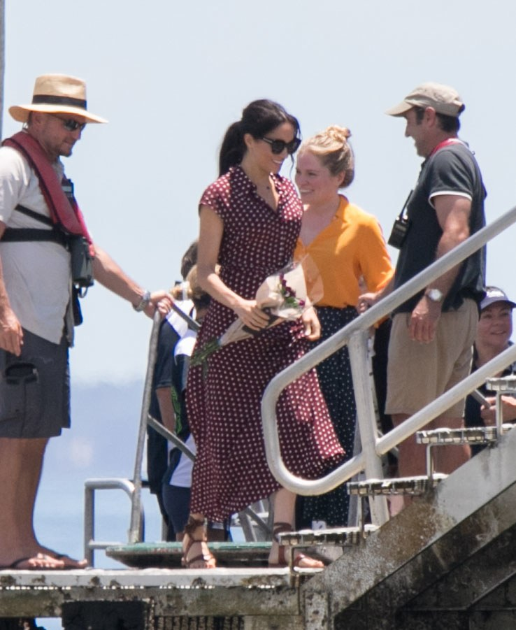 *NO MAIL ONLINE* The Duchess of Sussex, Meghan Markle arrives by boat to Kingfisher Bay on Fraser Island