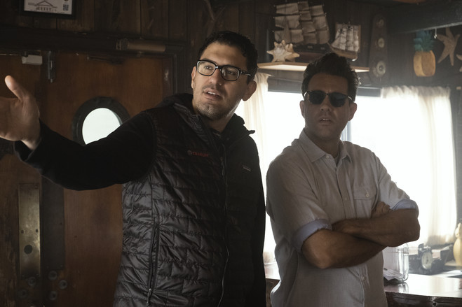 'Homecoming' director Sam Esmail, left, behind the scenes with actor Bobby Cannavale.