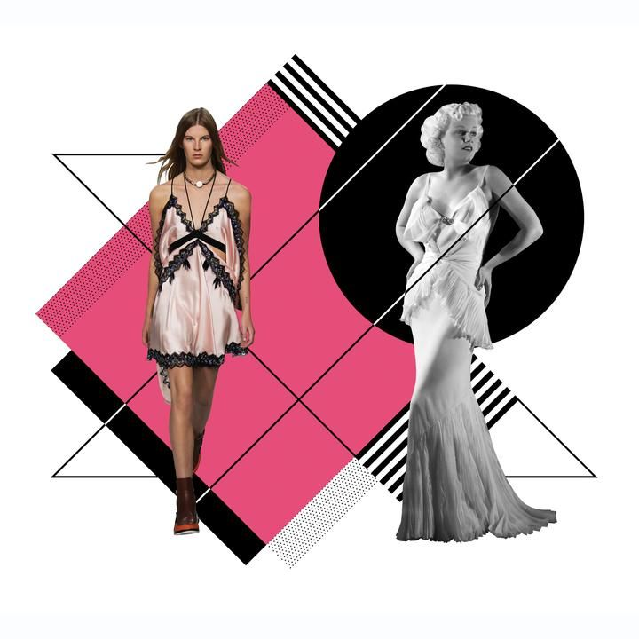 SLINKIES From left: A pink negligee-inspired dress at the Louis Vuitton 2019 resort collection; Jean Harlow in a bias-cut gown in 1930.