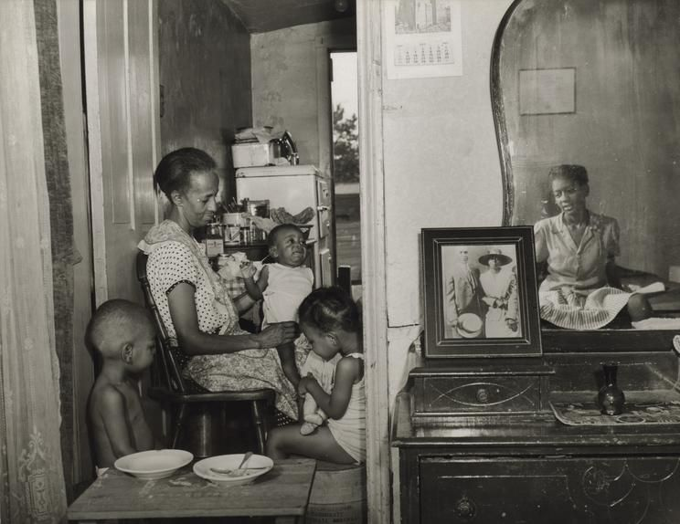 'Washington, D.C., Mrs. Ella Watson, a Government Charwoman, With Three Grandchildren and Her Adopted Daughter' (1942)