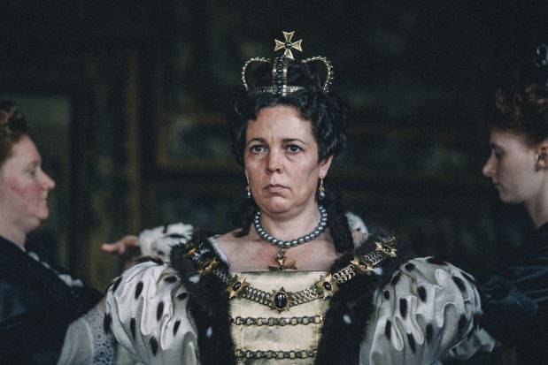 Olivia Colman in 'The Favourite,' which received 10 nominations.