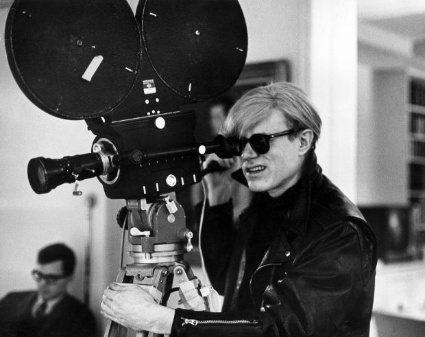 Andy Warhol behind the camera in 1969.