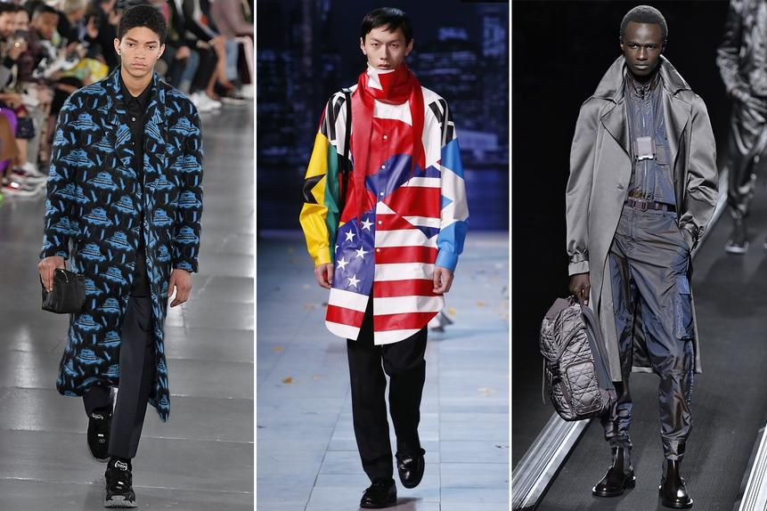"""At the latest Paris Fashion Week for men, there was little that was discernibly """"French"""" among on display. From left, UFOs at Valentino, a world flag motif at Louis Vuitton and a sleek grey look at Dior."""