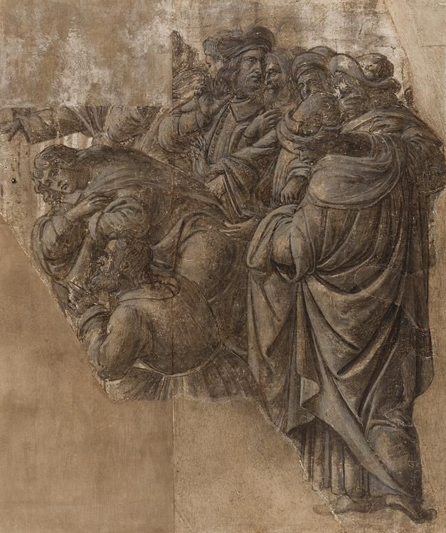 From top: Botticelli's 'Tragedy of Lucretia' (1499-1500), a detail of the work, and his 'Story of Virginia' (c. 1500). Preparatory study for Botticelli's 'Adoration of the Magi.' 'Men Conversing and Two Magi'
