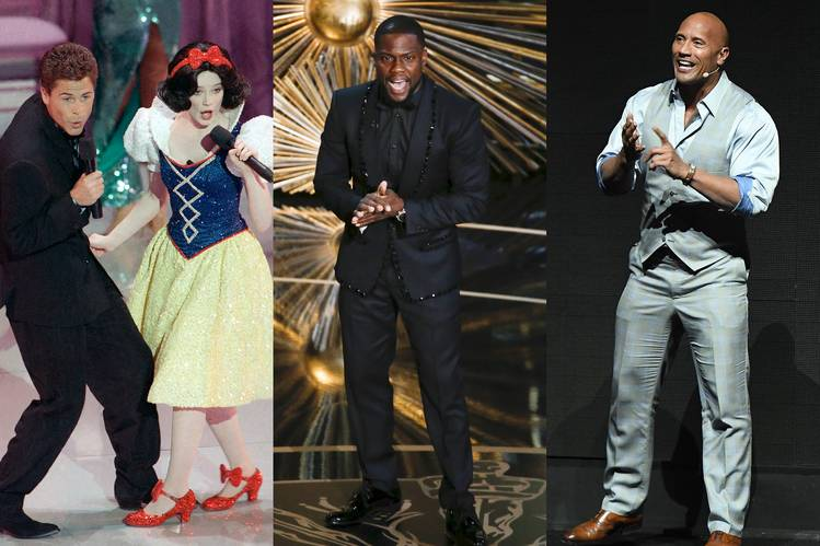 Rob Lowe's duet with Snow White is an indelible memory of the host-less 1989 Oscars; 2016 host Kevin Hart, center, was hired and fired for this year's show; Dwayne Johnson, right, declined to host.