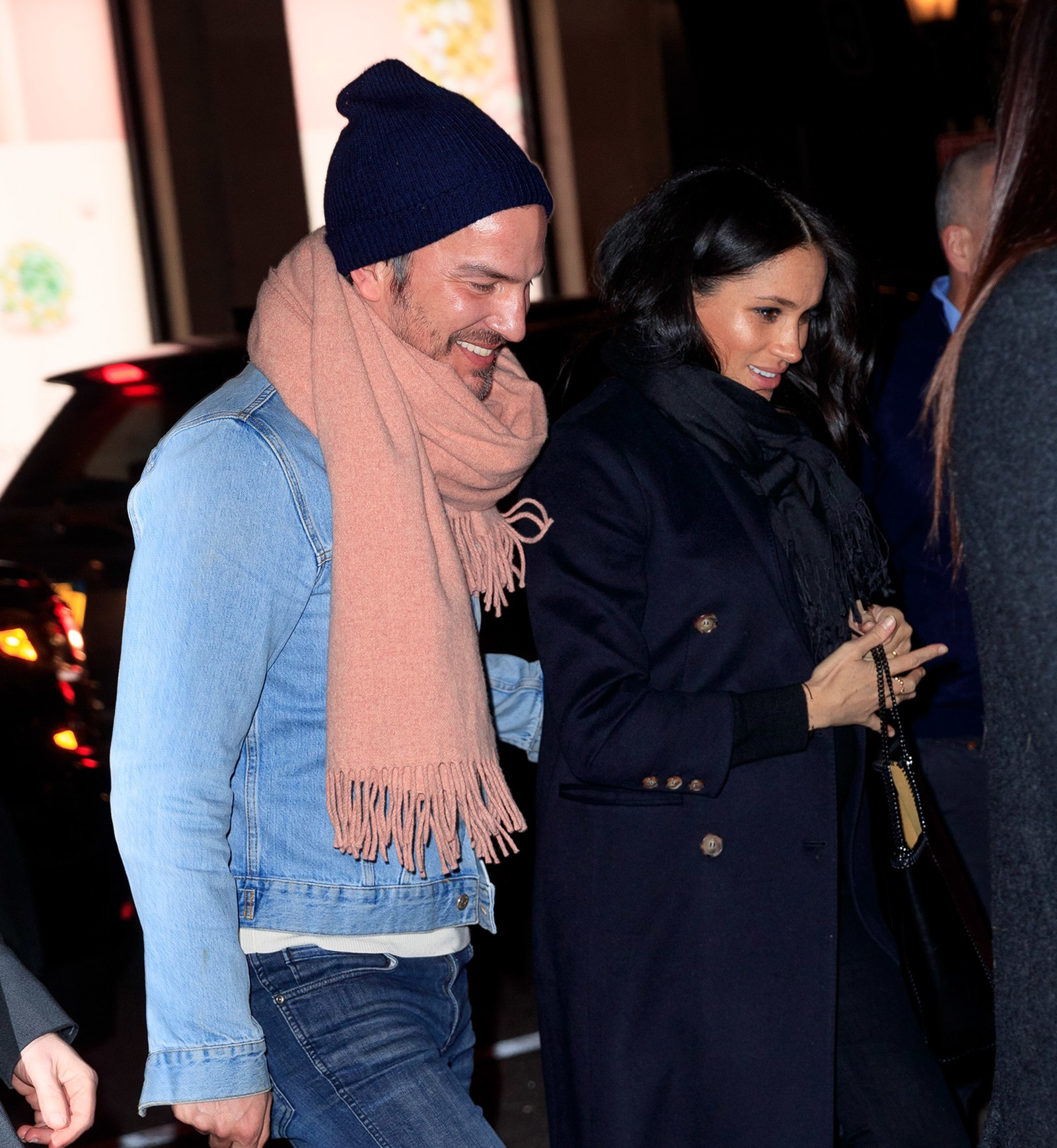 Meghan Markle and a friend in New York City in February 2019.