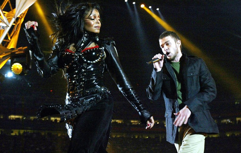 Janet Jackson and Justin Timberlake performing at the Super Bowl in 2004.