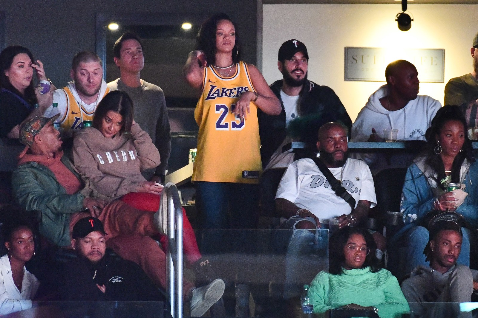 Rihanna at a basketball game in February 2019.