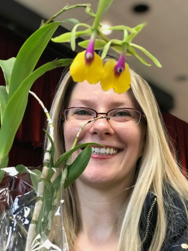 Aga Montes was on the hunt for an Epicattleya Rene Marques with a yellow-and-fuschia dendrobium orchid at a New Jersey orchid show.