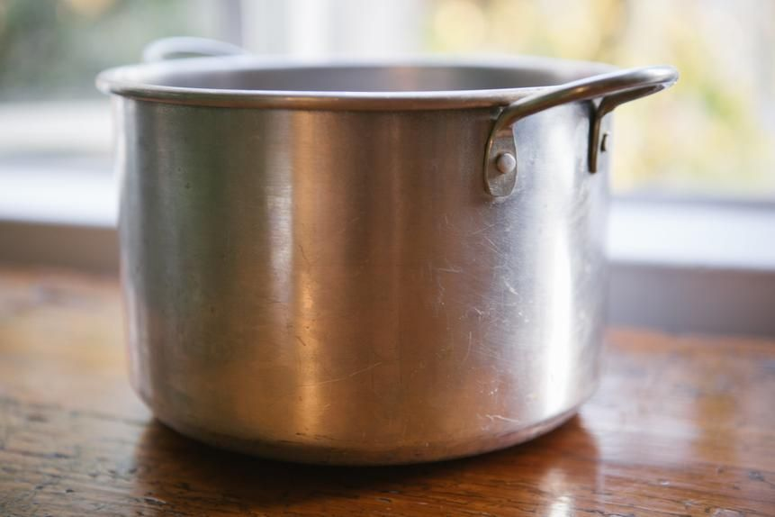 His workhorse aluminum pot.