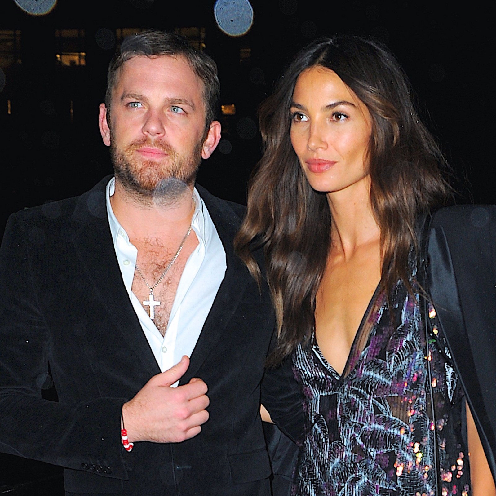 Lily Aldridge and husband Caleb Followill attend a party.