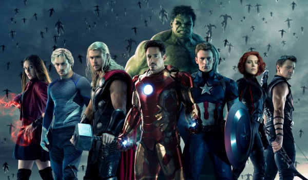 Avengers: Age of Ultron the team stands next to Scarlet Witch and Quicksilver in front of tons of Ul