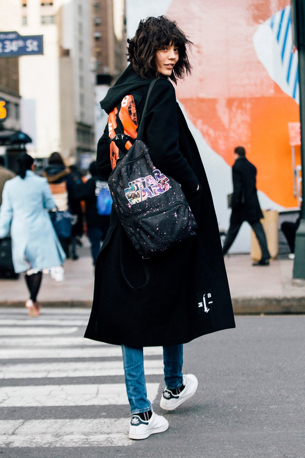 pA model carrying a emStar Warsem backpack during Fashion Week.p