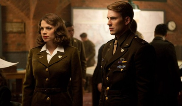 Captain America: The First Avenger Peggy and Cap in uniform, being briefed