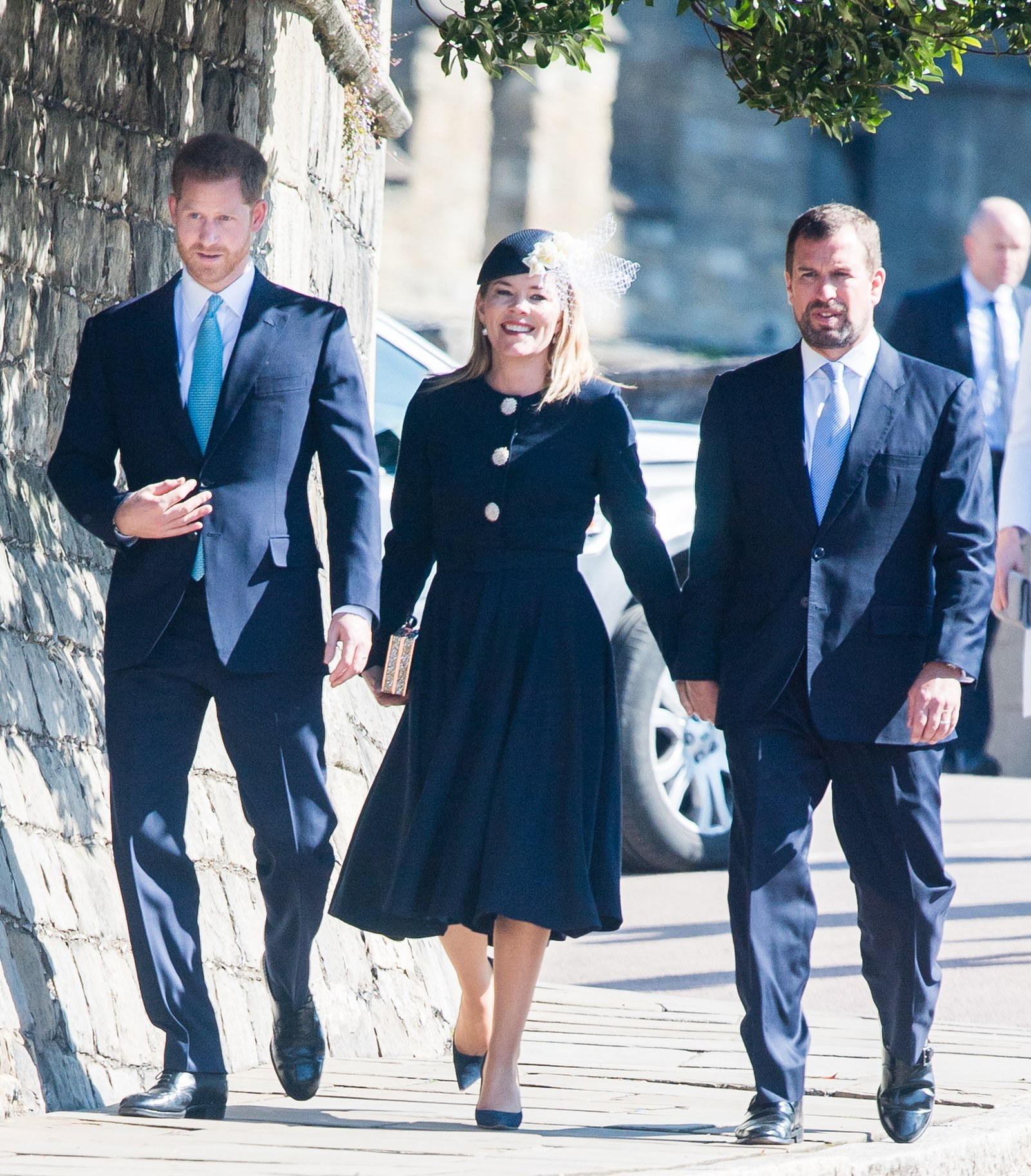 Prince Harry Duke of Sussex Autumn Phillips and Peter Phillips attend Easter Sunday service