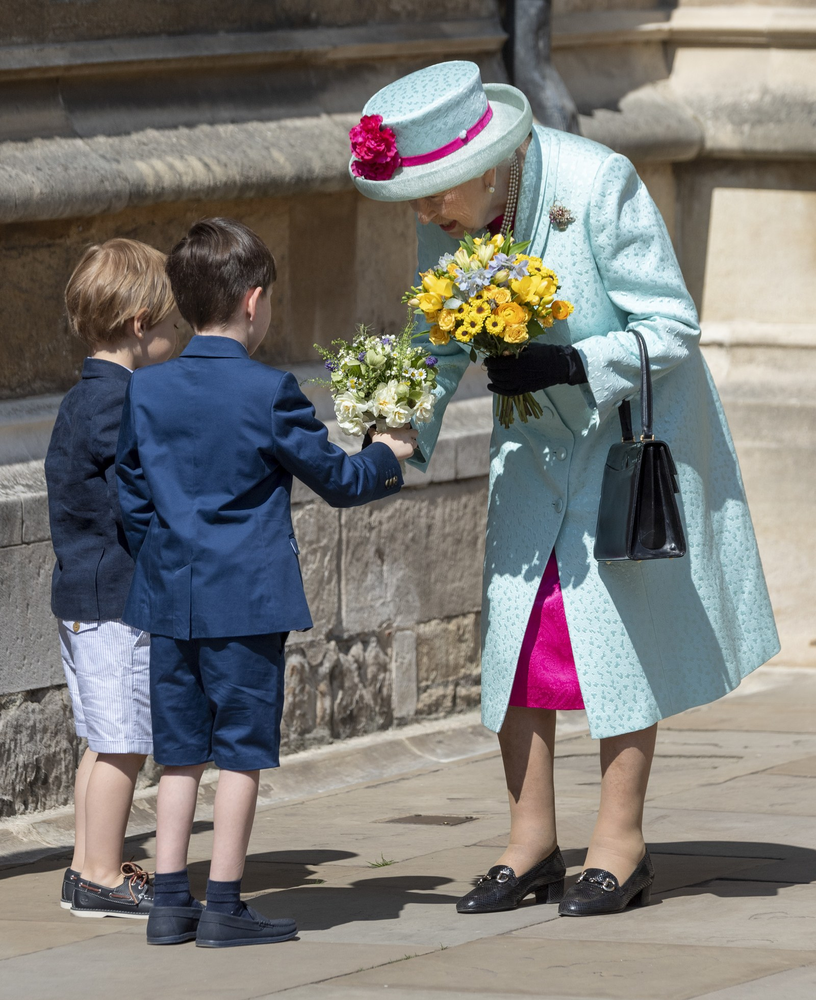 Queen Elizabeth II attends Easter Sunday service at St George's Chapel