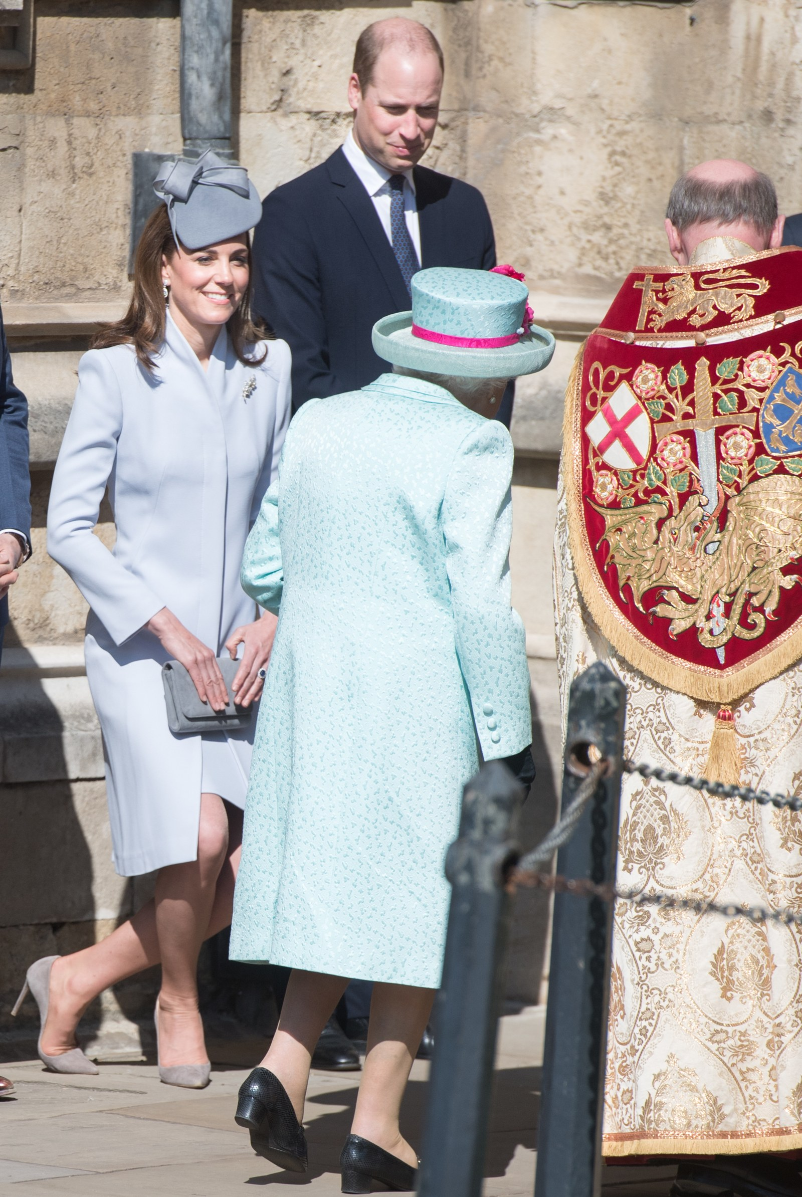 Catherine Duchess of Cambridge curtseys to Queen Elizabeth II on Easter Sunday