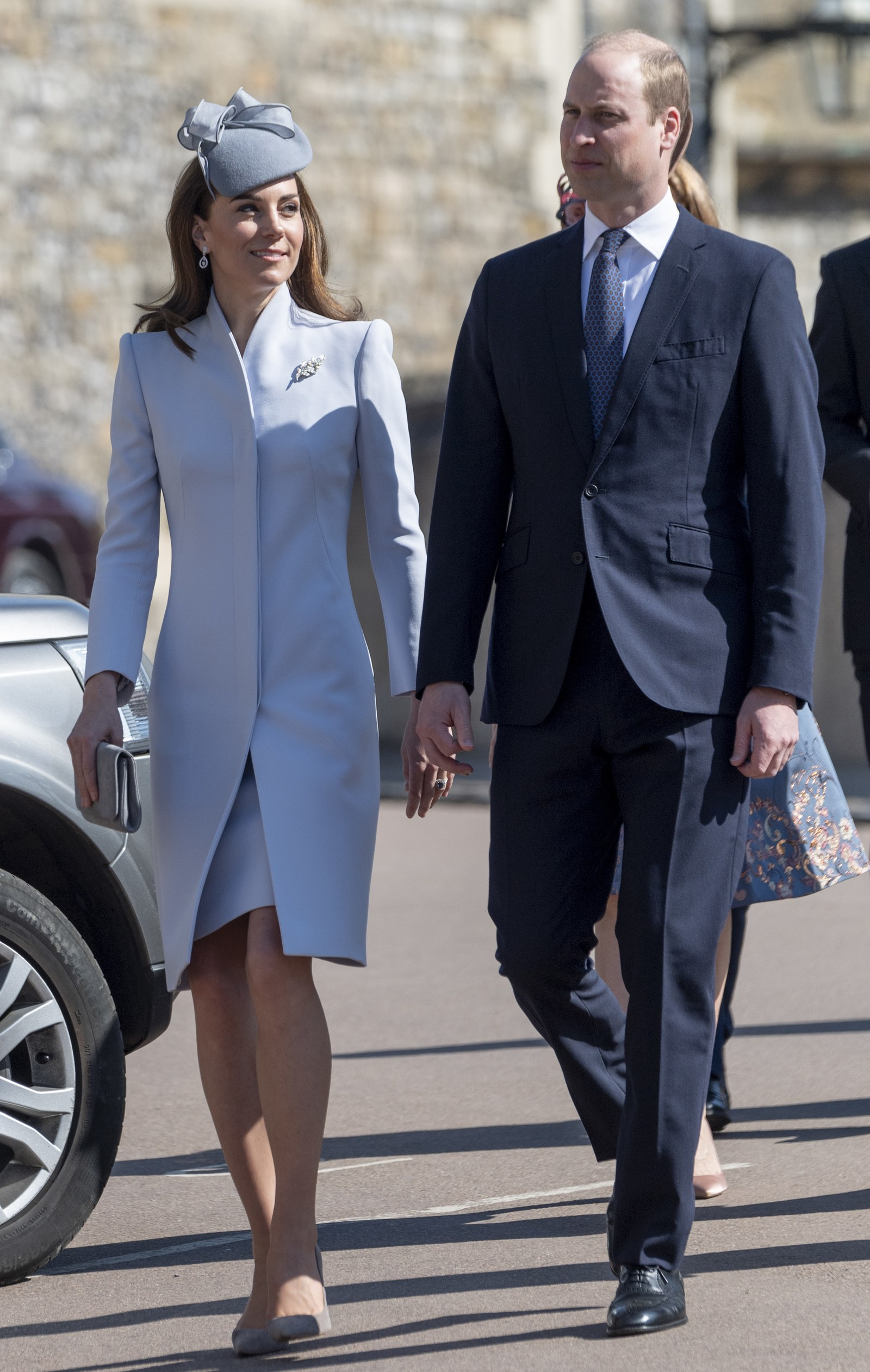 WINDSOR ENGLAND APRIL 21 Prince William Duke of Cambridge and Catherine Duchess of Cambridge attend Easter Sunday...