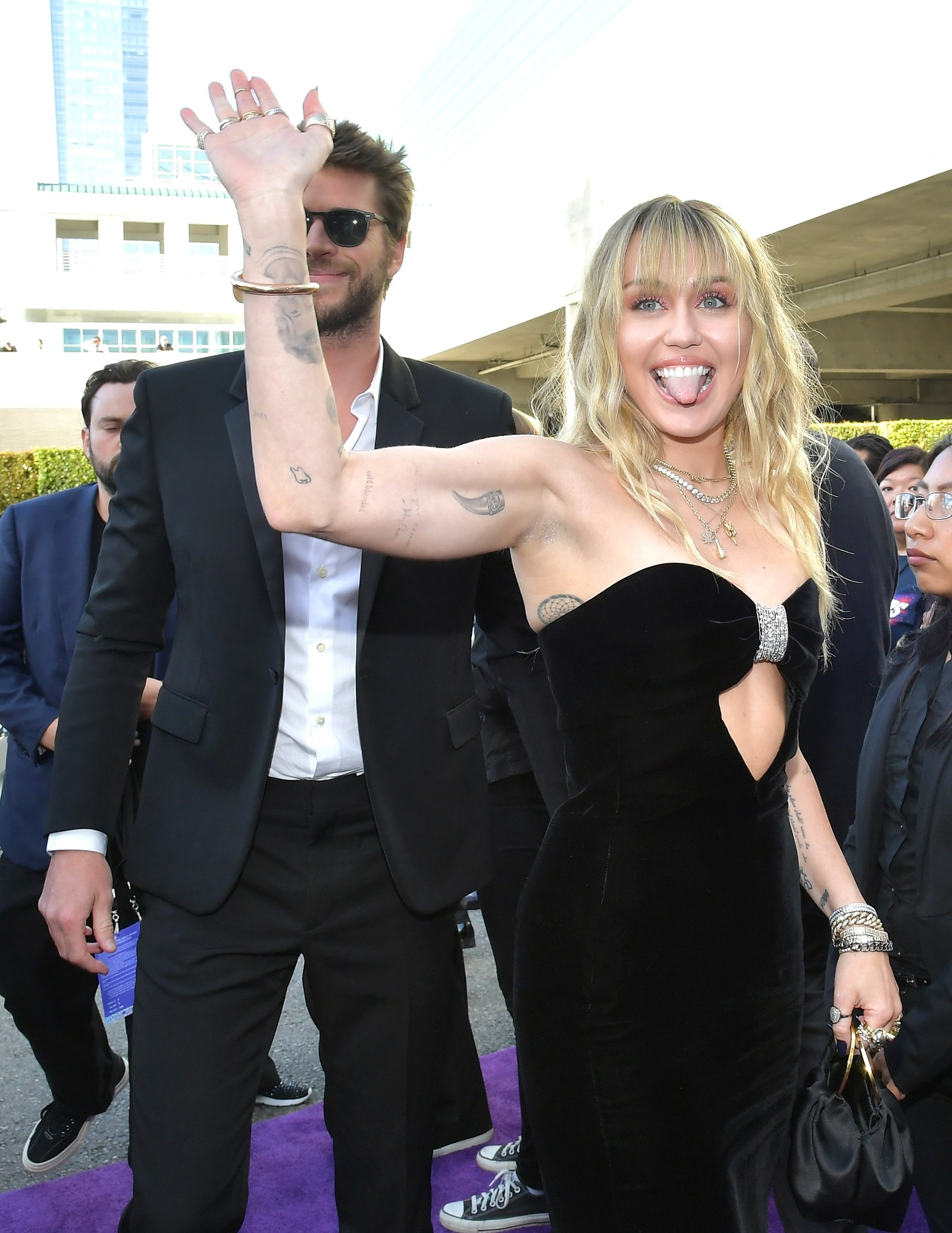 Liam Hemsworth and Miley Cyrus at the Hollywood premiere of Avengers Endgame in April 2019.