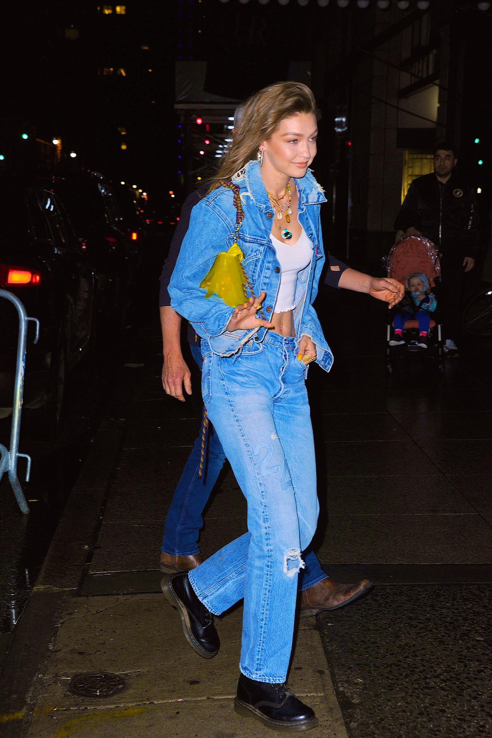 Gigi Hadid arriving at her birthday party