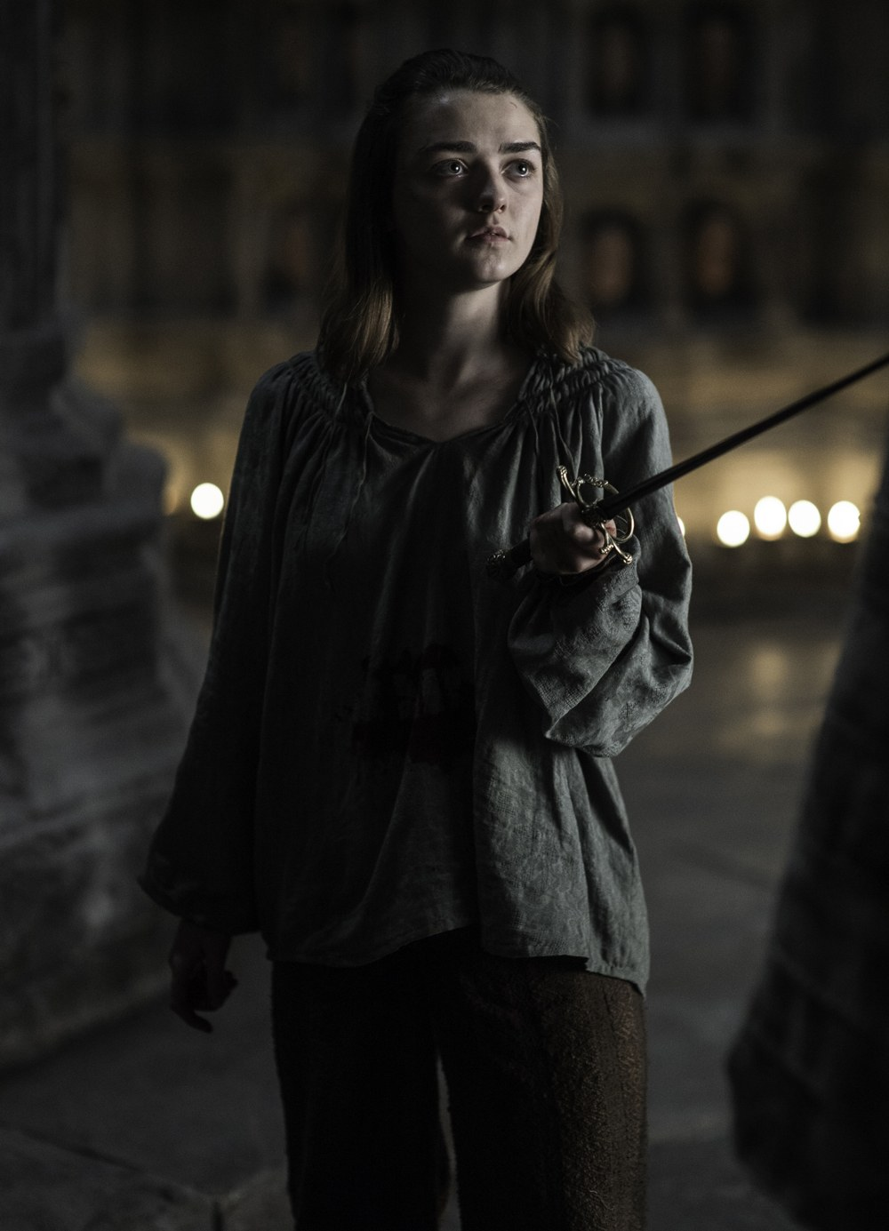 Arya Stark with her sword on Game of Thrones