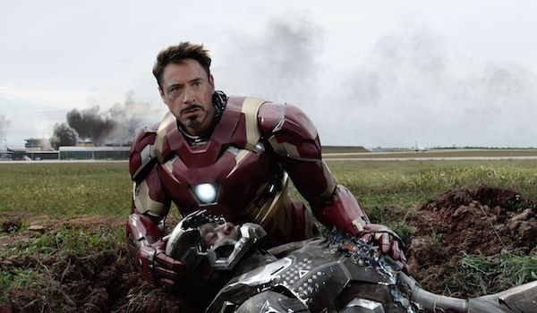 Robert Downey Jr as Iron Man and Don Cheadle as War Machine in Captain America: Civil War