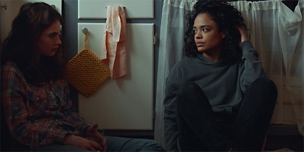 Lily James and Tessa Thompson talk in Little Woods