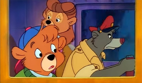 Baloo, Rebecca and Kit flying in Talespin