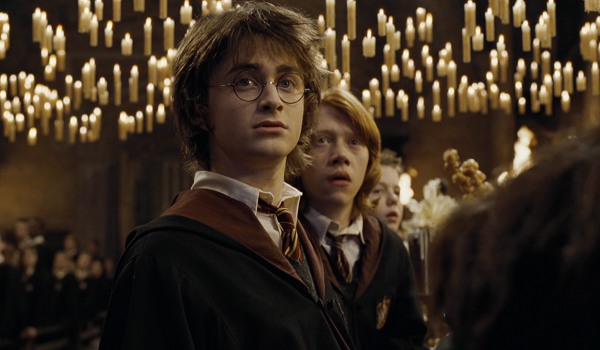 Harry Potter And The Goblet Of Fire dining hall candles, Harry and his glasses