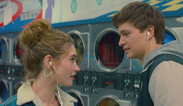 Ansel Elgort as Baby and Lily James as Debora in Baby Driver