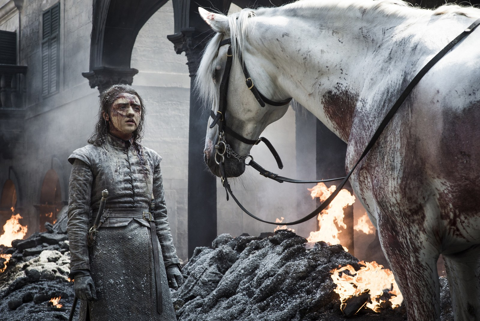 Arya Stark and a white horse in season 8 of Game of Thrones.