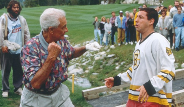 Happy Gilmore Bob Barker winds up to punch out Happy on the golf course