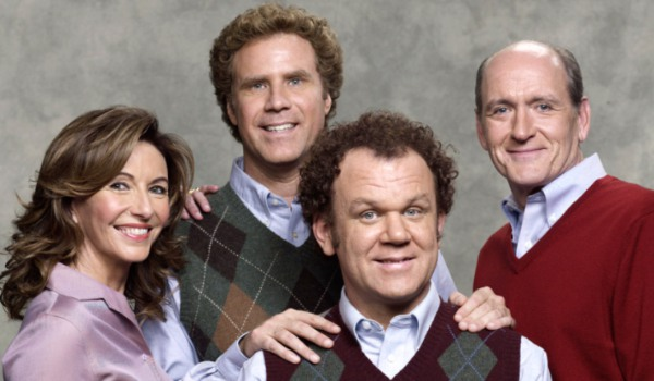 Step Brothers the Doback-Huff family pose for a family photo
