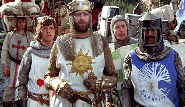 Monty Python and The Holy Grail Arthur and his knights listening to instructions in the woods