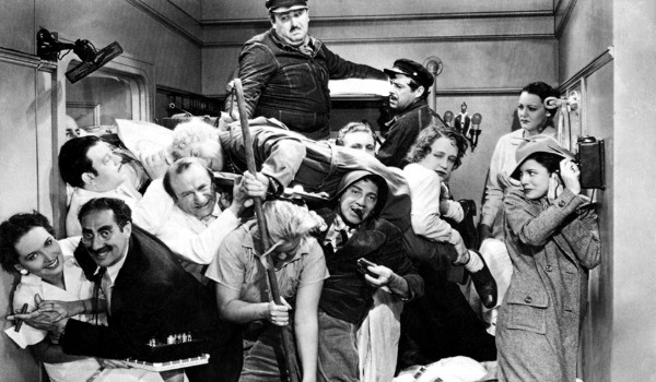 A Night At The Opera The Marx Brothers packed in a state room full of people