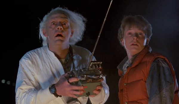 Back To The Future Doc and Marty marvel at the Delorean's disappearance