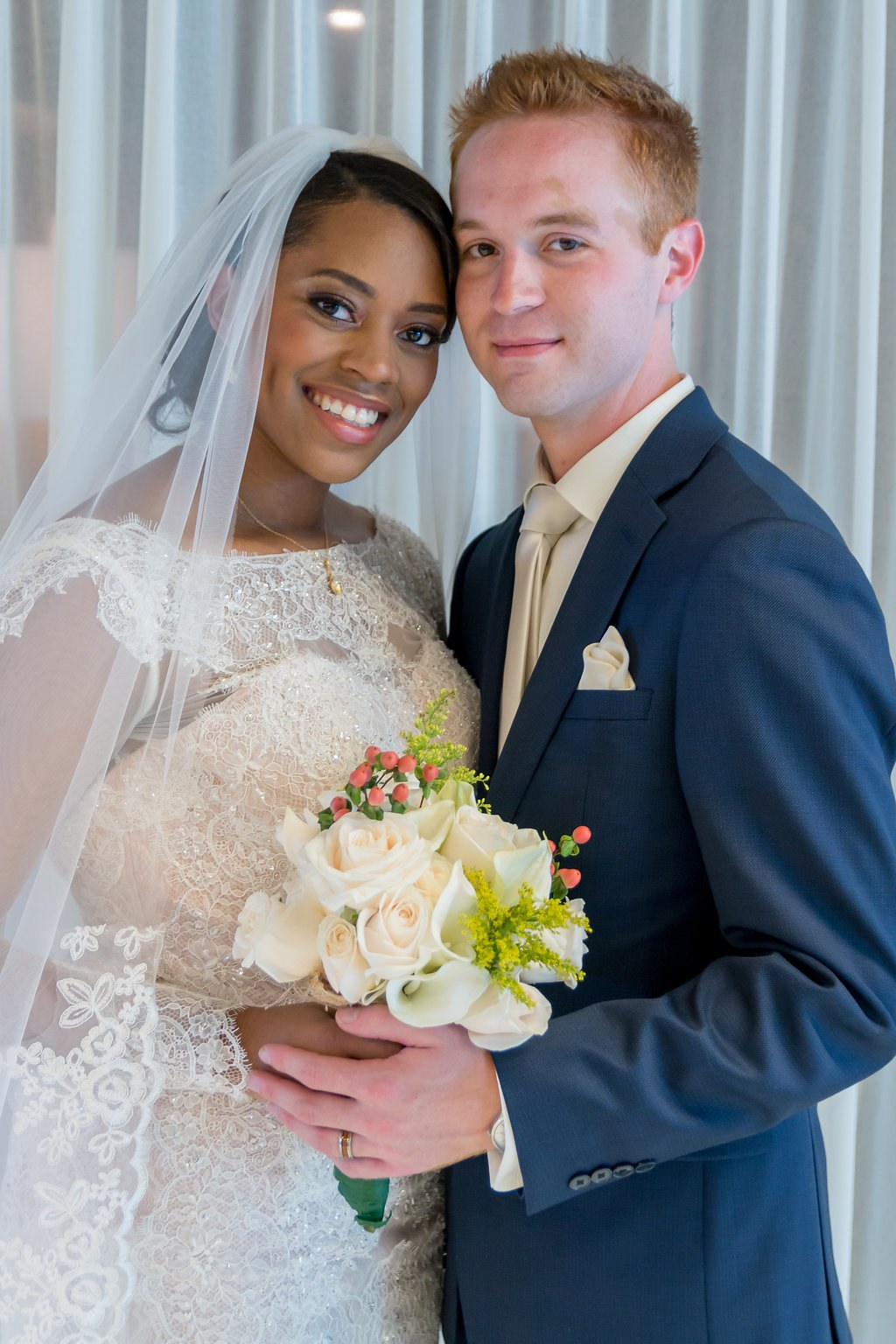 A bride and her husband on their wedding day