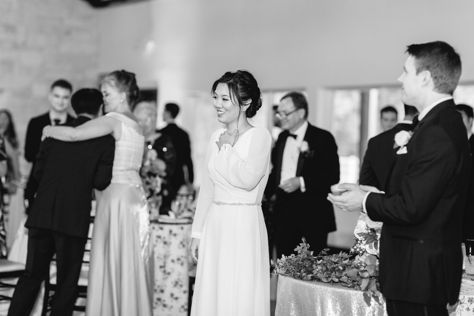 Joan Zhang wearing a used wedding dress at her reception