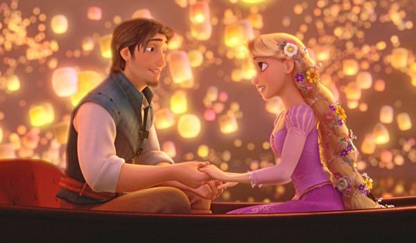 Rapunzel and Flynn on a boat in Tangled