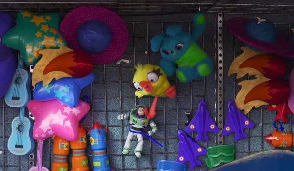 Ducky and Bunny with Buzz Lightyear in Toy Story 4