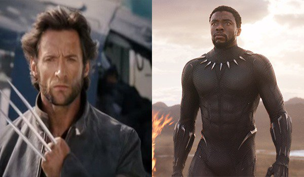 Hugh Jackman with Wolverine's Adamantium claws and Chadwick Boseman in Blank Panther's Vibranium sui
