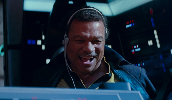 Star Wars: The Rise of Skywalker Lando giddy at the Falcon's controls