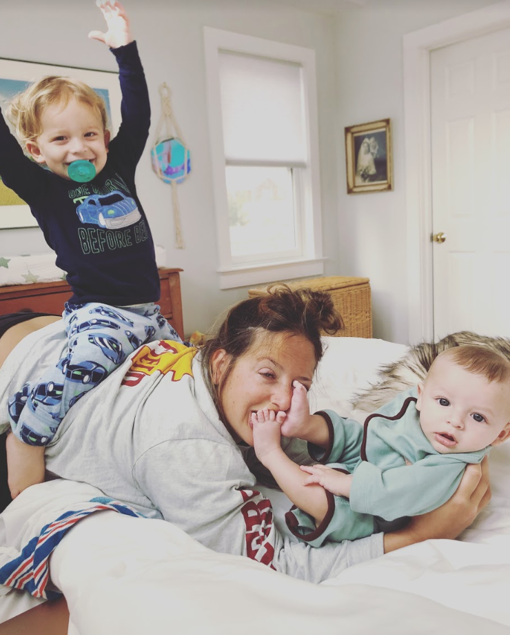 pThe author with her kidsp