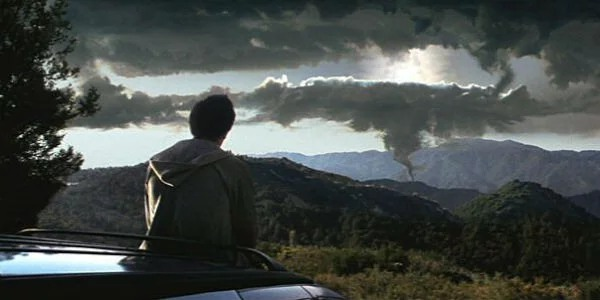 Donnie Darko looks out upon an ominous sky