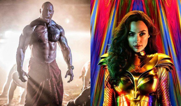 Hobbs and Shaw Dwayne Johnson screaming Wonder Woman 1984 Gal Gadot in costume, with a colorful back