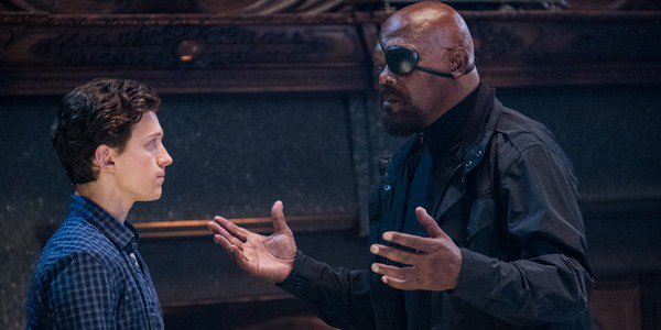 Peter Parker and Nick Fury in Spider-Man: Far From Home