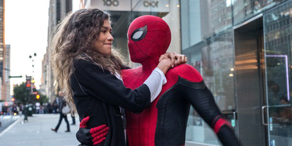 Spider-Man with MJ in Spider-Man: Far From Home