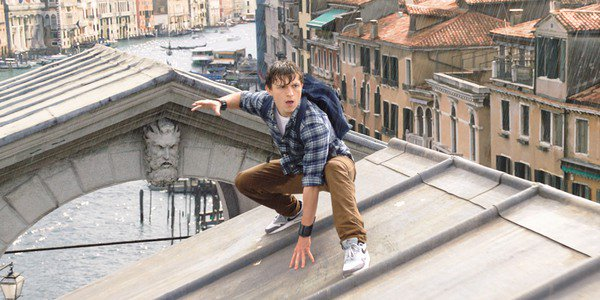 Peter Parker crouching in Italy in Spider-Man: Far From Home