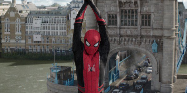 Spider-Man swinging in London in Spider-Man: Far From Home